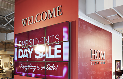 Wall graphics at HOM Furniture store in Minneapolis