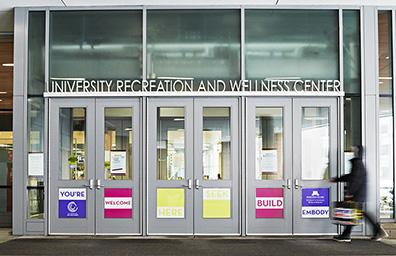 Window and door graphics at University of Minnesota